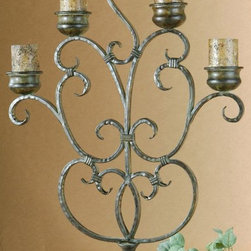 Uttermost - Billy Moon Juliana Candelabra - Designer: Billy Moon. Antiqued candles included. Made of Metal. 3 x 3 candles not included. 26 in. W x 7 in. D x 38 in. HThis hand forged metal candelabra features a finish of orange rust and olive bronze.