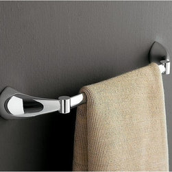 "Toscanaluce - 14 Inch Polished Chrome Towel Bar - Stylish, contemporary design 14 inch towel holder. Towel bar is made out of brass with a polished chrome finish. Decorative 14"" towel holder mounts easily to the bathroom wall with screws. Made in Italy by Toscanaluce. Stylish, contemporary style 14 inch towel bar. Towel holder made out of brass with a polished chrome finish. Decorative 14 inch towel bar attaches easily to the bathroom wall with screws. From the Toscanaluce Kor Collection."