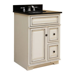 """Sunny Wood - Sunny Wood SL2421D Glazed White Sanibel 24"""" Maple Wood Vanity Cabinet - 24"""" Maple Wood Vanity Cabinet from the Sanibel Collection Discover the fresh and casual nature of the Sanibel Vanity Collection from Sunny Wood Products. Each piece is crafted in the tradition of fine home furnishings and finished with a multi-step, hand-detailed painted finish.  Finally, a contrasting glaze is applied that brings out the unique cabinet and molding details.  Featuring inset doors and drawers, ample storage options, and practical functionality allows the Sanibel Vanity Collection to highlight your bath s interior and fulfills your own personal style needs. Confirm your good taste by choosing the Sanibel Vanity Collection from Sunny Wood Products.    Product Details:  Dimensions: 24""""W x 21""""D x 34""""H Constructed of Maple hardwoods and veneers 1 Door, 2 Drawer Design Raised panel doors and drawers Decorative tapered foot detail Durable painted finish with accent glaze Shaped door and drawer frames Ample interior storage Brass decorative hardware Crated and shipped assembled Sanibel vanities: 24"""" (this model), 30"""" (SL3021D), 36"""" (SL3621D), 48"""" (SL4821D) Note: Additional image is that of the SL3621D, but still provides reference for design characteristics and finish."""