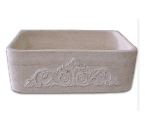 Stoneman Tile & Marble - FarmHouseSink, 36x20x10 - All our sinks are hand-carved from stone blocks. We use US technical standards for our sizing. Our drain holes are standardized.