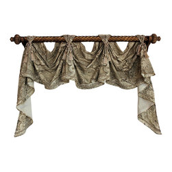 RLF Home - Sedona Victory Swag, Sand, 3 Scoop - The Sedona Victory Swag touts a beautiful paisley motif united with lavish French-gimp trim, and chair-tie accents. Fashioned with front-tabs and elegantly draped from a decorative pole, this style is sure to please! This valance is 90% Polyester/10% Linen, lined, and available in colors Sand and Stream.