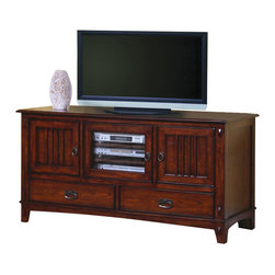 Coaster - Coaster Mission Style Media Console with Doors and Drawers - Coaster - TV Stands - 700133 - This beautiful mission style media console will add great style and function to your living room. The piece is crafted of woods and oak veneers in a warm medium finish that will add depth to your space. The generously sized top surface of this TV stand will accommodate most televisions up to 55 inches in size. Two wooden doors with slats create the classic mission look offering enclosed storage to keep clutter hidden. A center glass door with three shelves inside is ideal for electronics components allowing you to use your remotes through the glass. Two lower drawers create more space for movies and other media items. Details including an exposed joinery look antique burnished metal hardware and tapered block feet complete this warm and inviting style. For a well rounded mission ensemble in your living room choose this stunning media stand. Choose from a variety of TV stands to fit your needs and complement your home decor! With many different styles finishes and sizes available you are sure to find an option that you love. With plentiful media storage options and entertainment solutions these media console will keep your family and friends happily entertained for hours without compromising the style of your living room or family room.