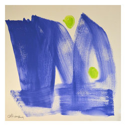 No.W283 Double Blue, Original, Painting - 20 x 20 wide cerulean blue brushstrokes set off by acid green circles. lots of energy !