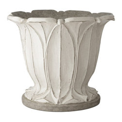 Aged White Fountain Planter - This planter is a nice balance between traditional and modern. It's elegant without being fussy.