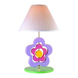 Lite Source - Lite Source 3SFL50106 Children / Kids Table Lamp Lite Source Kids Colle - Bringing back the memories is this funky lamp with three different pieces, which rotate around the center postA green solid wood base offsets the multiple colors of the flower very well1 100w Max Medium Base Bulb (Not Included)
