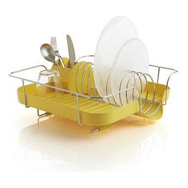 Polder® Yellow Corkscrew Dish Rack - Life meets style™ at the intersection of form and function courtesy of the bright minds at Polder Housewares. Modern, molded design in sunny yellow features a ridged base and pour spout to catch and drain off drips and a modern, round utensil holder. Corkscrew-style steel wire insert serves as the plate rack, while the wire frame lifts the rack off sinks and counters as the grippers prevent scratching.