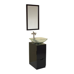 "Fresca - Fresca Brilliante Espresso Vanity w/ Mirror - Dimensions of vanity:  17""W x 21""D x 34""H. Dimensions of mirror:  17""W x 30""H. Materials:  Solid Oak wood, tempered glass sink. Soft closing door. Single hole vessel faucet mount. P-trap, faucet, pop-up drain and installation hardware included. The Brilliante Vanity comes with a gorgeous espresso wood finish.  The clear glass basin with simple chrome hardware and compact storage solutions makes this piece great for a small bathroom.  Simple in design and size."