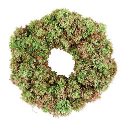 Ballard Designs - Preserved Hydrangea Wreath - Enjoy season after season. Great housewarming gift. Hand crafted. Made to order in the USA. Allow 3-4 weeks shipping time. Keep the look of summer all year round with our Hydrangea Wreath. Big full blooms of real hydrangea are specially preserved to retain their soft rainbow color and lacy texture.  of hydrangea over a woven, natural angel vine base. Hydrangea Wreath features: . . . .  .