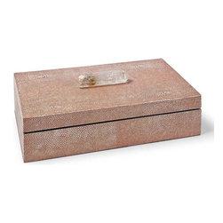 Regina Andrew - Regina Andrew Coral W/ Crystal Large Shagreen Box - Large Shagreen Box in coral with crystal stone by Regina Andrew.