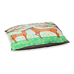 "DiaNoche Designs - Dog Pet Bed Fleece - Woodland Deer - DiaNoche Designs works with artists from around the world to bring unique, designer products to decorate all aspects of your home.  Our artistic Pet Beds will be the talk of every guest to visit your home!  BARK! BARK! BARK!  MEOW...  Meow...  Reallly means, ""Hey everybody!  Look at my cool bed!  Our Pet Beds are topped with a snuggly fuzzy coral fleece and a durable indoor our underside material.  Machine Wash upon arrival for maximum softness.  Made in USA."