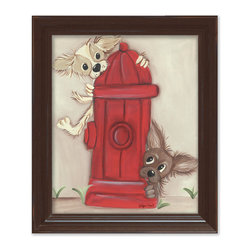 Doodlefish - Hot Dogs in Brown Frame - Do Chihuahua's play in fire hydrants? These two playful puppies have escaped the designer purse and are splashing around in the water. This piece is the companion to Barks-n-Bubbles. This wall art is great for a kid's bathroom, bedroom or playroom. It is also great for the laundry room or mudroom. The artwork is a framed 11x14 canvas print - finished size 15x18. Click on More Images to see the choice of distressed frame and even add hand-painted personalization.
