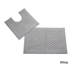 None - Trier Cotton Non-skid 2-piece Contour and Bath Rug Set - The Trier 2-piece bath rug set is a modern addition to your bathroom. Made of 100-percent cotton, these rugs feature a chevron pattern in your choice of white, orange, blue, green or yellow. Machine washable for easy care and repeated use.
