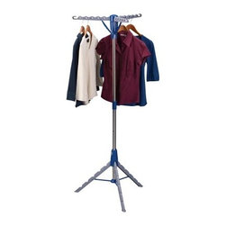 Household Essentials 5009 Tripod Drying Rack - Every laundry room needs the Household Essentials 5009 Plastic Drying Rack . Cut energy costs and wear and tear on your clothing by letting things hang-dry once in awhile! This convenient plastic rack has multiple dowels at various levels to hang clothing of all sizes and types. It assembles quickly and folds flat for storage when you're not using it. What could be easier?