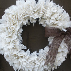 Burlap Christmas Wreath, White/Brown by The Slanted Barn