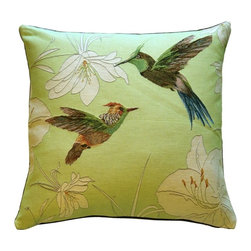 Pillow Decor Ltd. - Hummingbirds Green French Tapestry Throw Pillow - Few creatures capture the imagination quite like hummingbirds. These fluttering feathered friends, rendered in  French tapestry, make a fantastical accent in your favorite setting.
