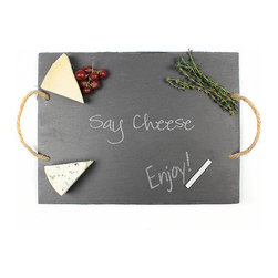 "Frontgate - Say Cheese Gray Serving Board - Slate serving board has food safe finish. Features hemp rope handles. ""Say Cheese"" engraved across the top. Includes soapstone chalk for easy labeling. Due to its organic nature, slate may contain slight variations. Our Say Cheese Slate Serving Board is a functional and stylish way to display a wide array of hors d'oeuvres at your next gathering. Use the included soapstone chalk to label all the gourmet foods on the tray and carry it easily with its hemp handles. The natural slate board is complete with the words ""Say Cheese"" engraved on the top.  .  .  .  .  . Hand wash ."
