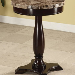 Asia Direct Home - Round Side Table w Marble Top - Marble veneer top. Solid wood base construction. Espresso finish. Assembly required. 18 in. Dia. x 25.5 in. H