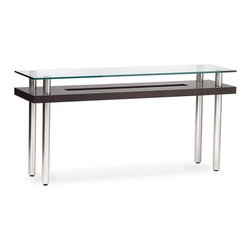 """BDI USA - Hokkaido Console Table - The Hokkaido line of tables has an elegant simplicity that disguises tremendous strength. A rich wood grain encircles the cutout section on the lower shelf, while the UV bonded, tempered glass top gives you the perfect place to sip your sake. Features: -Tempered glass top.-Hokkaido collection.-Collection: Hokkaido.-Top Finish: Glass.-Distressed: No.-Powder Coated Finish: No.-Gloss Finish: No.-Top Material: Glass.-Base Material: MDF.-Solid Wood Construction: No.-Reclaimed Wood: No.-Number of Items Included: 1.-Non-Toxic: Yes.-Drop Leaf Top: No.-Lift Top: No.-Storage Under Table Top: No.-Adjustable Height: No.-Glass Component: Yes -Tempered Glass: Yes.-Frosted Glass: No..-Nested Stools Included: No.-Legs Included: Yes -Number of Legs: 4..-Magazine Rack: No.-Casters: No.-Exterior Shelves: Yes -Number of Exterior Shelves: 1.-Adjustable Exterior Shelves: No..-Cabinets Included: No.-Drawers: No.-Cable Management: No.-Outdoor Use: No.-Swatch Available: Yes.Dimensions: -Overall Height - Top to Bottom: 28.5"""".-Overall Width - Side to Side: 60"""".-Overall Depth - Front to Back: 16"""".-Table Top Width - Side to Side: 60"""".-Overall Product Weight: 80 lbs."""