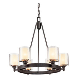 Troy Lighting - Troy Lighting F1716 Arcadia 6 Light Chandelier with Glass Shades - Clean modernist lines and geometry make the Arcadia 6 Light Chandelier an inspired addition to your home. Designed with simplicity in mind, it features a hand-worked wrought iron frame in a French iron finish for a look that transcends trend. Combined with six individual candelabras nestled in cream shades and glass hurricanes, it�s a versatile look for dining rooms, hallways, and more.