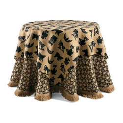 Grandin Road - Halloween Icon Square Table Topper - Halloween table topper in black and earth tones. Woven from 100% burlap. Spot clean. Versatile Geometric Tablecloth is sold separately. Create an appropriately spooky – yet still stylish – look for your ghoulish buffet with our Halloween Icon Table Topper. Refreshing your table linens is an easy, affordable way to scare up compliments without breaking your Halloween budget. Topper features six different frightful silhouettes.  .  .  .  . Imported.
