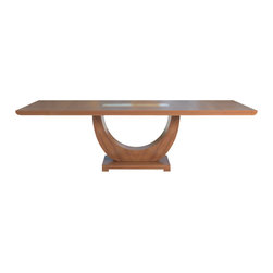 """SHERES - Lauren Dining Table, Walnut - Beautiful, sophisticated, and timeless.  This is Greg's best selling dining table ever.   The lovely """"Zen"""" curved base supports a thick top with reverse radius ends and an inset glass in the center.  This is an original design by award winning designer Greg Sheres.  This table is available in Wenge or Walnut finish.  Open size is 115"""" x 43"""".  Closed size is 79"""" x 43"""".  Ships in wood crate."""