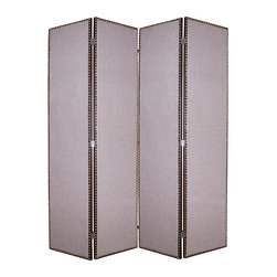 Screen Gems - Mandalay Privacy Screen Divider - Give your living room a modern  look with the Mandalay Screen. Upholstered in grey fabric. Looks great with just about any decor. Built on a kiln-dried hardwood frame for maximum strength and durability. 80 in. W x 84 in. H (110 lbs.)