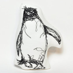 Penguin Thread Drawing Plushie by KLT Works - Just plain fun, like nature, these pillows belong in my living room all the time.