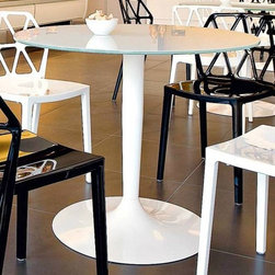 Calligaris - Planet Round Top Dining Table (Chromed) - Color: ChromedPictured in Optic White finished top. Glossy Optic White base. Features a round top that seats all guests comfortably even when numbers are odd. It rests on a pedestal base fitted with a weighted metal base plate. Assembly required. 35.5 in. W x 35.5 in. D x 29.625 in. H