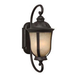 Exteriors - Exteriors Frances II Energy Star Outdoor Wall Sconce - Medium X-GRN-29-0116Z - Light up your home in style with this medium-sized Craftmade Frances II Energy Star Outdoor Wall Sconce. It's a simple yet elegant piece, with a gently scrolled arm in an oiled bronze finish and a tea-stained scavo glass shade. This impeccably designed fixture is sure to diffuse light softly and pleasantly in most any space.