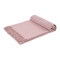 GOYO - GOYO Mongolian Cashmere Home Throw Fringed 79 x 57 in., Baby Pink - This luxuriously soft home throw is ideal for cozying up on an evening at home.