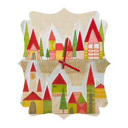 DENY Designs - DENY Designs Cori Dantini Christmas Village Quatrefoil Clock - Tick tock, tick tock. When time feels like it's standing still, check out DENY's Quatrefoil Clock. Paired with the art of your choice, this Quatrefoil Clock is just what you need to make the day go by just a little bit faster.