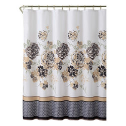 Shower Curtain-13pc with Rollerball Hook -Tabitha Set - 13pc Tabitha Shower Curtain Set with Rollerball Hooks