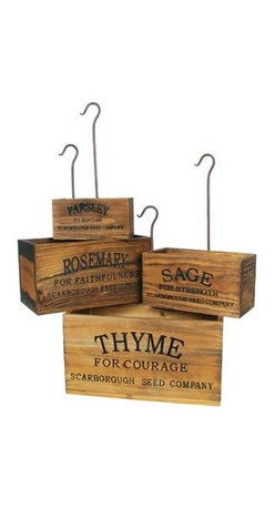 Vintage-style Nesting Herb Crates - Get the rustic look along with a little charm, courtesy of these nesting herb crates. Fill with plants, cookbooks, or whatever you like for added storage space in the kitchen.