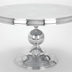Aspire - Round Aluminum Cocktail Table - This contemporary table will add a touch of class to your decor. The polished aluminum finish is crisp and clean and the round ball at the base of the table is unique and artistic. Aluminum. Color/Finish: Silver. Assembly Required. 19 in. H x 30 in. W x 30 in. D. Weight: 28 lbs.