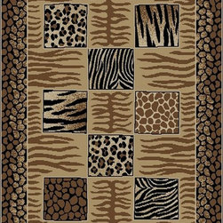 Ottomanson - Multi-Color Contemporary Animal Patchwork Design Rug - Royal Collection offers a wide variety of machine made modern and oriental design area rugs with durable, stain-resistant pile in trendy colors.