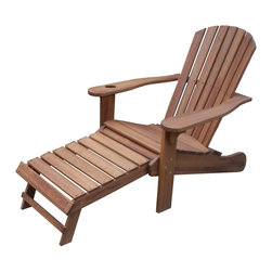 Outdoor Interiors - Eucalyptus Adirondack Chair with Drink Holder and Built-in Ottoman - This chair set is made of eucalyptus, which is prized for its strength, durability and weathering characteristics in all climates. Similar to teak, eucalyptus is naturally resistant to insects and decay, and presents beautiful, pinkish-brown tones.