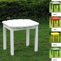 Adirondack - Adirondack Sidetable - Add this wood Adirondack side table to your outdoor living space so you will have a place to set drinks,snacks,and other items while you relax. The table is constructed of solid wood for durability and is available in a variety of colors.