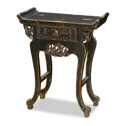China Furniture and Arts - Vintage Elmwood Shanxi Table - This vintage Shan-Xi table is unique and petite. Hand-carved of Elmwood with one drawer for convenient storage. Perfect for foyer or hallway. Fully assembled. Size may vary slightly with each piece.