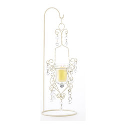KOOLEKOO - Vintage Crystal Drop Candleholder - Recreate the romantic mood of a 19th century Parisian apartment with this stunning lighting piece! Meticulous metal scrollwork frame in rich ivory tones perfectly captures the essence of continental living.