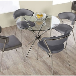 Euro Style - Euro Style Hydra 5 Piece Dining Set with Draco Chairs - Gray Multicolor - EUS182 - Shop for Dining Sets from Hayneedle.com! Simple modern and beautiful the Euro Style Hydra 5 Piece Dining Set with Draco Chairs - Gray makes a lovely addition to any contemporary dining room. Built on a sturdy metal frame finished in chrome this table has a glass top and comes with four gray faux leather-upholstered chairs.Dimensions:Chairs: 23W x 23D x 30.5H inchesTable: 36 diam. x 30.25H inchesAbout Euro StyleEuro Style is more than a brand name. It's a complete design approach for furnishing the living room dining room kitchen and office. Most Euro Style furniture can be assembled in under fifteen minutes. Some can be assembled in under five minutes. Assembly instructions and the few tools you might need come inside the carton. Today there are hundreds of Euro Style products with new ones arriving every month. You'll discover Euro Style offers the right design at the right price.