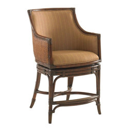 Lexington - Tommy Bahama Home Landara Oceana Swivel Counter Stool - Luxurious woven raffia outside back, with upholstered inside back featured in a woven pattern with highlights of sunset gold and cilantro green, set on a chestnut background. Details like leather strapped carved rattan trim and antique brass finished metal kick plate and ferrules make this piece truly inspiring. Shown in standard fabric, Seabrook, with custom fabric options available. See store for details.