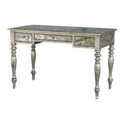 Uttermost - Uttermost - Emrick Writing Desk In Distressed Silver Leaf - 25609 - Emrick Collection Writing Desk
