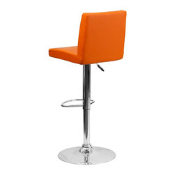 Flash Furniture - Flash Furniture Barstools Residential Barstools X-GG-GRO-66029-HC - This dual purpose stool easily adjusts from counter to bar height. The simple design allows it to seamlessly accent any area in the home. Not only is this stool stylish, but very comfortable to provide you with an amazing sitting experience! The easy to clean vinyl upholstery is an added bonus when stool is used regularly. The height adjustable swivel seat adjusts from counter to bar height with the handle located below the seat. The chrome footrest supports your feet while also providing a contemporary chic design. [CH-92066-ORG-GG]