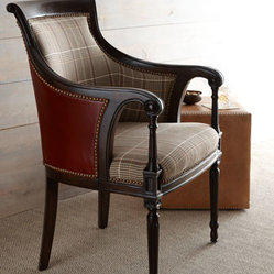 "Key City Furniture ""Farron"" Plaid & Leather Chair"