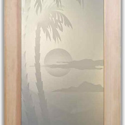 """Interior Glass Doors - Palm Sunset 2D - CUSTOMIZE YOUR INTERIOR GLASS DOOR!  Interior glass doors or glass door inserts.  .Block the view, but brighten the look with a beautiful interior glass door featuring a custom frosted glass design by Sans Soucie!  ship for just $99 to most states, $159 to some East coast regions, custom packed and fully insured with a 1-4 day transit time.  Available any size, as interior door glass insert only or pre-installed in an interior door frame, with 8 wood types available.  ETA will vary 3-8 weeks depending on glass & door type........  Select from dozens of sandblast etched obscure glass designs!  Sans Soucie creates their interior glass door designs thru sandblasting the glass in different ways which create not only different levels of privacy, but different levels in price.  Bathroom doors, laundry room doors and glass pantry doors with frosted glass designs by Sans Soucie become the conversation piece of any room.   Choose from the highest quality and largest selection of frosted decorative glass interior doors available anywhere!   The """"same design, done different"""" - with no limit to design, there's something for every decor, regardless of style.  Inside our fun, easy to use online Glass and Door Designer at sanssoucie.com, you'll get instant pricing on everything as YOU customize your door and the glass, just the way YOU want it, to compliment and coordinate with your decor.   When you're all finished designing, you can place your order right there online!  Glass and doors ship worldwide, custom packed in-house, fully insured via UPS Freight.   Glass is sandblast frosted or etched and bathroom door designs are available in 3 effects:   Solid frost, 2D surface etched or 3D carved. Visit our site to learn more!"""
