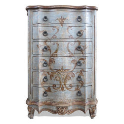Koenig Collection - French Chest Of Drawers Eliza, Blueish Grey Antiqued Beige W/ Espresso Scrolls - French Chest of Drawers Eliza, Blueish Grey Distressed over Antiqued Beige W/ Espresso Scrolls