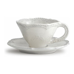 Arte Italica - Merletto Antique Scalloped Cup & Saucer - When it comes to serving guests, bring out your best. This delicately detailed cup and saucer has a lacy pattern that draws its inspiration from a vintage design. Handmade in Italy, each piece varies slightly in color and shape for one-of-a-kind character.