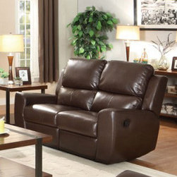 Homelegance - Homelegance Gannet Double Reclining Loveseat in Brown Leather - Designed for placement in a multitude of home decors, the Gannet Collection will fit perfectly in your living space. This bonded leather match seating offering is presented in either black or brown. The dual reclining ends of the sofa and love seat, as well as the coordinating reclining chair, feature a slightly curved arm with manual easy pull recline mechanism. - 8529BRW-2.  Product features: Gannet Collection; Contemporary Style; Brown Color; Bonded Leather Match Cover. Product includes: Loveseat (1). Double Reclining Loveseat in Brown Leather belongs to Gannet Collection by Homelegance.
