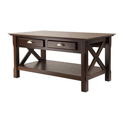 Winsome Wood - Xola Coffee Table - Our Xola line is named for the contemporary X design for occasional tables. This Coffee Table has 2 storage drawers with brushed pewter finish pulls. It is made up of Solid and composite wood sturdy constructions and is finished in rich cappuccino stain.