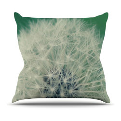 """Kess InHouse - Angie Turner """"Fuzzy Wishes"""" Green White Throw Pillow (26"""" x 26"""") - Rest among the art you love. Transform your hang out room into a hip gallery, that's also comfortable. With this pillow you can create an environment that reflects your unique style. It's amazing what a throw pillow can do to complete a room. (Kess InHouse is not responsible for pillow fighting that may occur as the result of creative stimulation)."""